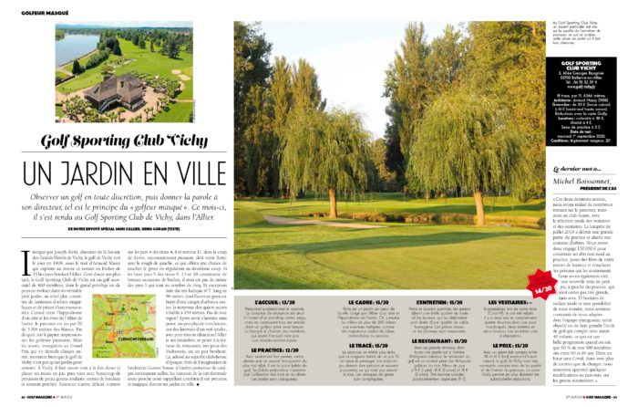 Article du golfeur masqué au Sporting Club Vichy