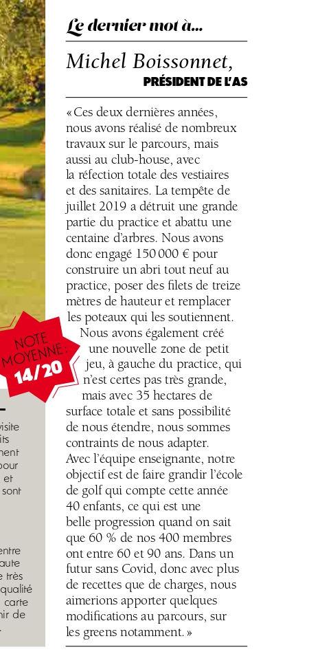 Golf Mag sur le Sporting Club Vichy
